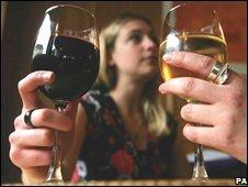 Women drinking wine