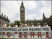 Pensioners demonstrating