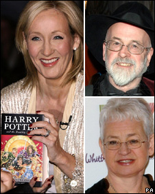 JK Rowling (left) Terry Pratchett and Jacqueline Wilson