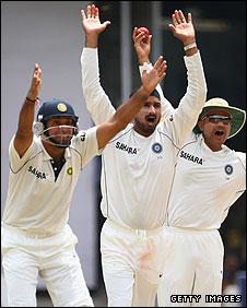 India's fielders appealing