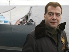 Russian President Dmitry Medvedev aboard a cruiser in the Barents Sea on 11 October 2008