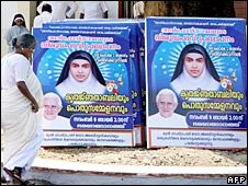 Poster featuring Sister Alphonsa and Pope Benedict ahead of her canonisation 12 Oct