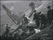 The wreckage of the flying boat crash