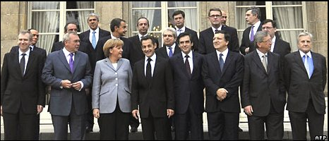 European leaders gather for a financial crisis summit at the Elysee Palace in Paris on Sunday 12 October 2008
