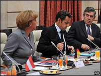 Angela Merkel, Nicolas Sarkozy y Gordon Brown