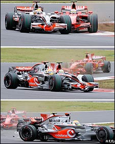 Lewis Hamilton and Felipe Massa collide during the Japanese Grand Prix