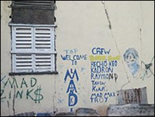 Gang graffiti in Kingston, Jamaica