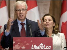 Liberal leader Stephane Dion campaigns on 12 October