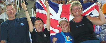 Tom Clabburn and family at the Athens Olympics in 2004
