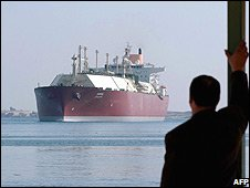 Qatari Liquefied Natural Gas (LNG) carrier 'Duhail' as its passes through the Suez Canal