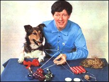 Presenter John Noakes with the Christmas advent crown