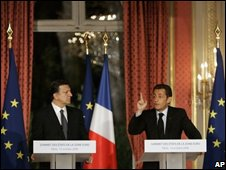 European Commission president Jose-Manuel Barroso and French President Nicolas Sarkozy