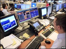 Trader in London, 13 October 2008