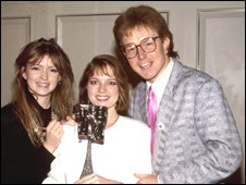 Caron Keating, Janet Ellis and Mark Curry in 1987