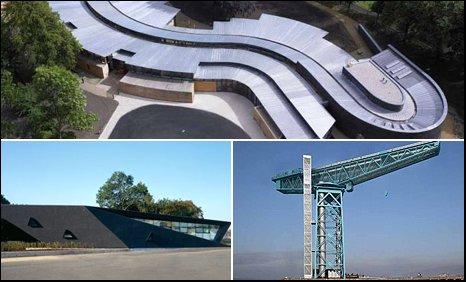 Clockwise; Hazelwood School, Glasgow; Titan Crane, Clydebank; Maggie's Centre Fife, Kircaldy