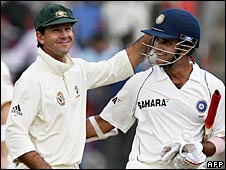 Australia Ricky Ponting (left) congratulates Sourav Ganguly (right) after India batted out for a draw on the final day in Bangalore