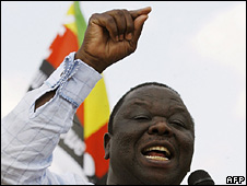 MDC leader Morgan Tsvangirai at a rally on  Sunday 12 October
