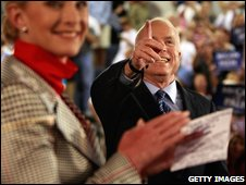 John McCain and wife Cindy campaign in Wilmington, North Carolina, on 13 October