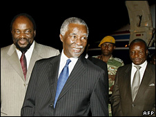 Thabo Mbeki arriving at Harare airport on Monday 13 October 2008