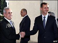 الأسد وميشال سليمان في دمشق