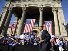 Barack Obama arrives at a rally in Chillicothe, Ohio, 10 Oct