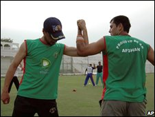 Members of the Afghan cricket team