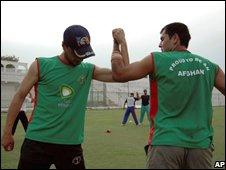Members of the Afghan cricket team