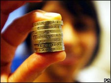 Woman holding pound coins