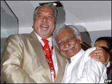 Chief executive of India's Kingfisher, Vijay Mallya, and chairman of Jet, Naresh Goyal