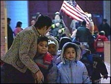 American pupils and teacher