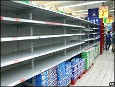 Empty shelves in a supermarket in Najing