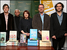 (Left to right) Sebastian Barry, Amitav Ghosh, Linda Grant Philip Hensher and Steve Toltz