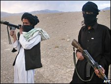 Masked Taleban militants pose for a photographer in Wardak province, September 2008