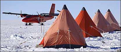 Campamento en la Antártica