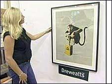 Talia Findlay with Banksy's Monkey Detonator
