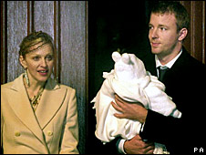 Madonna and Guy Ritchie, with their son Rocco, in 2000