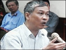 Vietnamese journalist Nguyen Viet Chien of the Thanh Nien newspaper during his trial in Hanoi, Vietnam