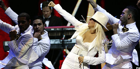 Christina Aguilera onstage at London's Royal Albert Hall