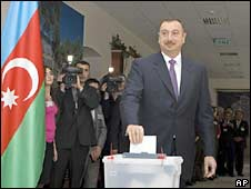 Azerbaijan's President Ilham Aliyev votes at a polling station in Baku