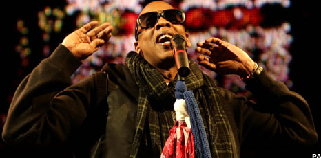 Jay-Z onstage at Glastonbury