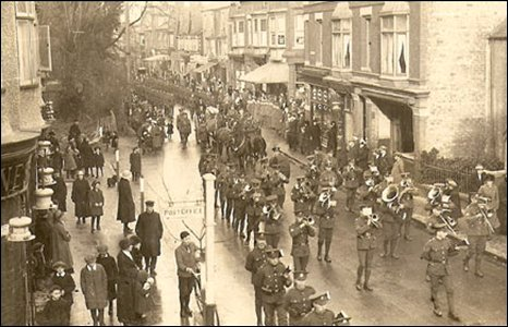 The funeral procession down Prestatyn High Street