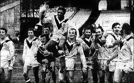 The 1972 team celebrate their victory