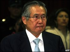 Former Peruvian President Alberto Fujimori at his trial in a photo dated 8 September 2008