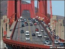 Cars drive across the Golden Gate Bridge October 10, 2008 in San Francisco, California