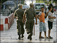 Israeli border policemen and Israeli-Arab youths in Acre