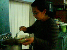 Evelyn cooking