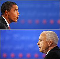 الديمقراطي باراك أوباما والجمهوري جون ماكين في آخر مناظرة لهما 16-10-2008