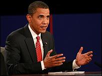 الديمقراطي باراك أوباما في آخر مناظرة له 16-10-2008