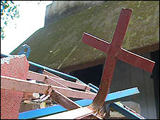 Church destroyed in the recent anti-Christian violence