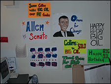 Hand-drawn posters in Barack Obama's campaign office in Maine